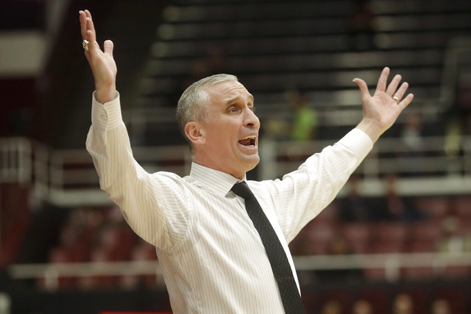 FILE - In this Feb. 13, 2020, file photo, Arizona State coach Bobby Hurley reacts during the first half of the team's NCAA college basketball game against Stanford in Stanford, Calif. Arizona State faced what could have been a difficult 2020-21 basketball season with three key players potentially leaving the program. Things have changed quickly now that Bobby Hurley has pulled in what may be the best recruiting class in school history. (AP Photo/Jeff Chiu, File)